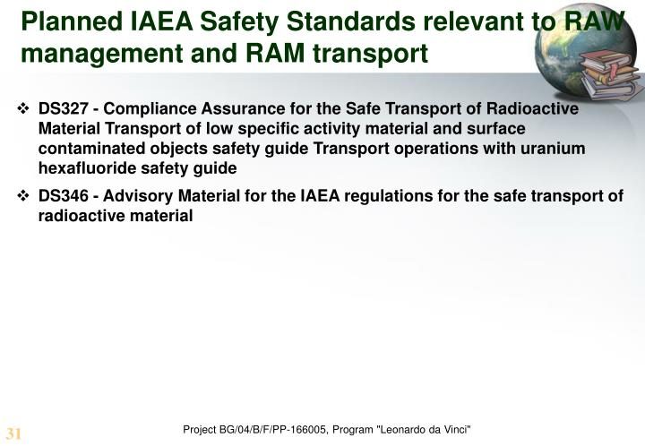 Planned IAEA Safety Standards relevant to RAW management and RAM transport