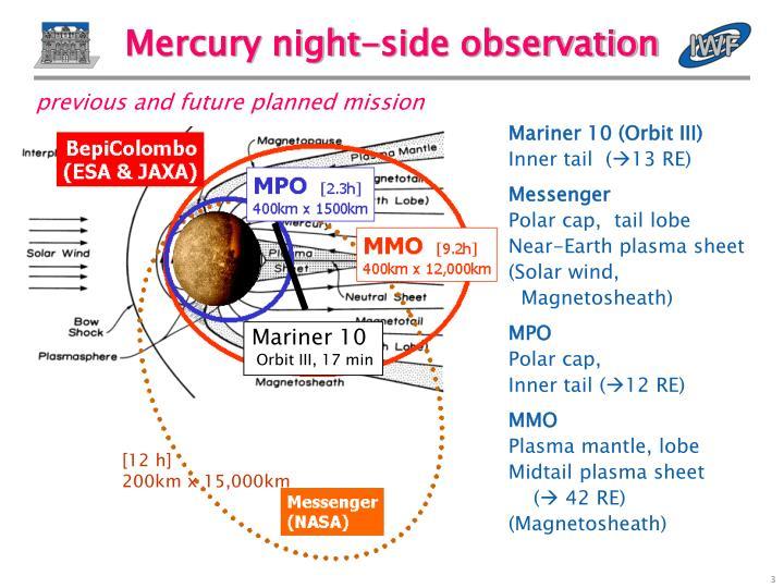 Mercury night side observation