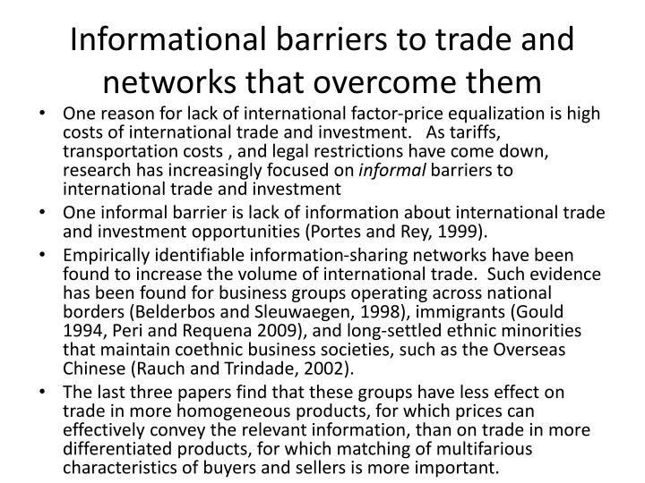 Informational barriers to trade and networks that overcome them