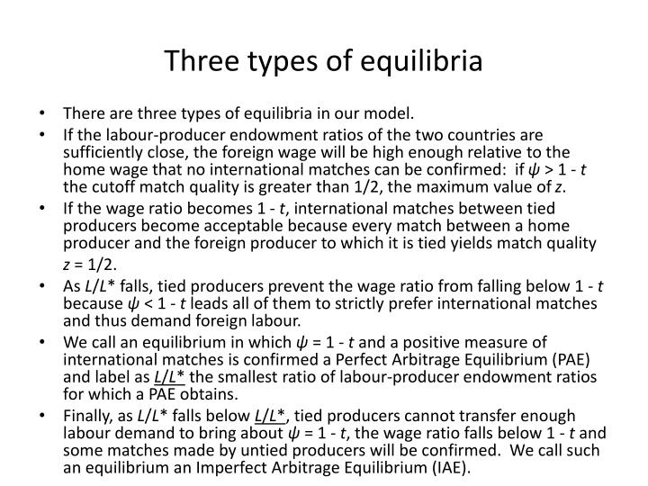Three types of equilibria