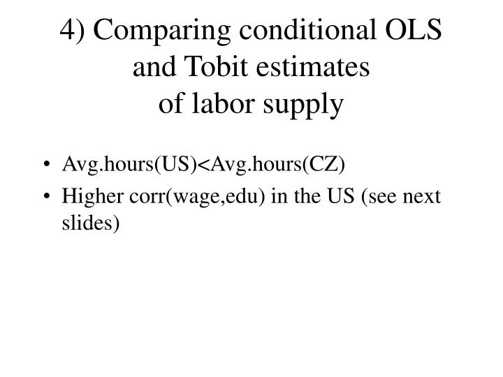 4) Comparing conditional OLS and Tobit estimates