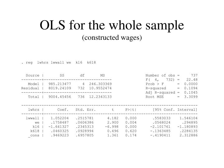 OLS for the whole sample