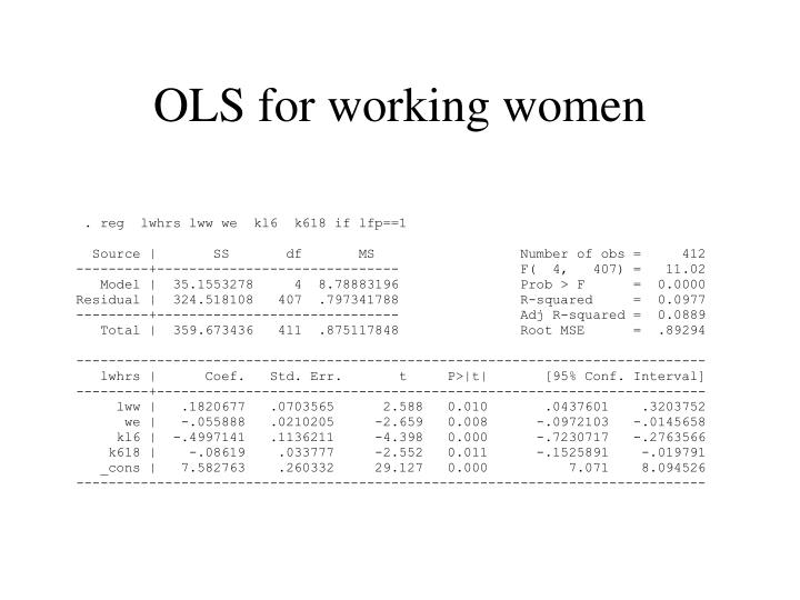 OLS for working women
