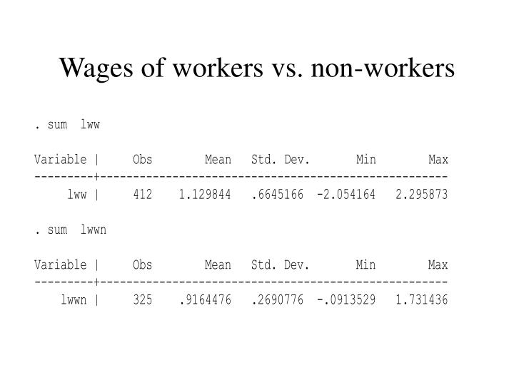 Wages of workers vs. non-workers