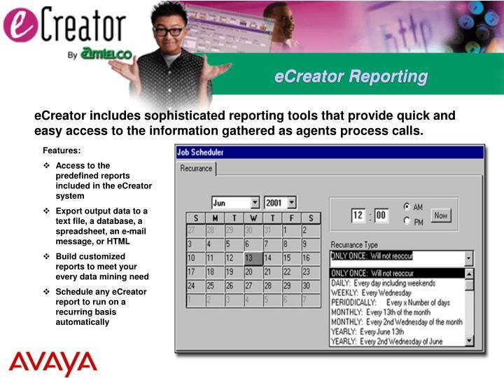 eCreator Reporting
