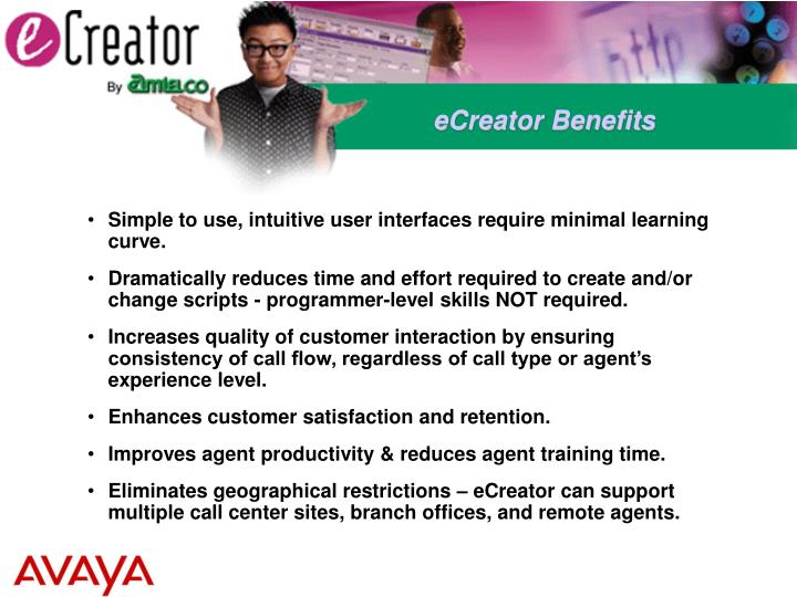 eCreator Benefits