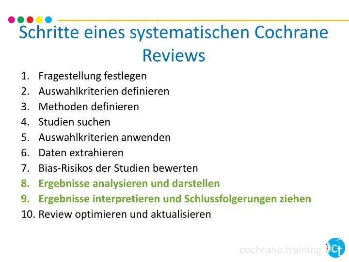 Schritte eines systematischen cochrane reviews