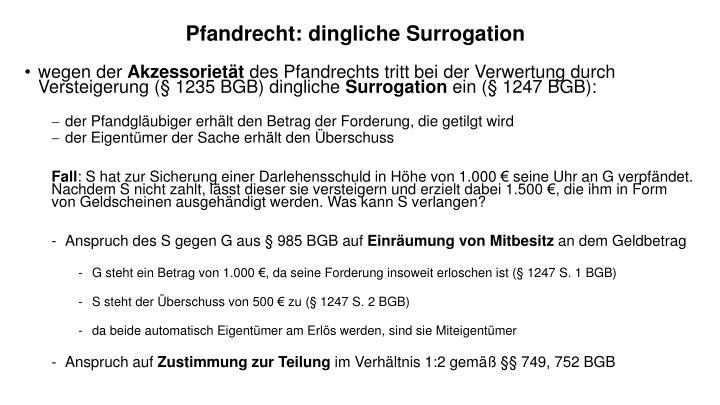 Pfandrecht: dingliche Surrogation