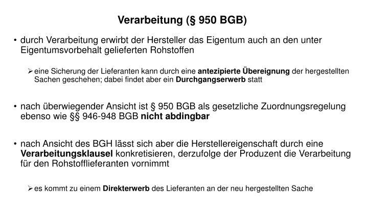 Verarbeitung (§ 950 BGB)