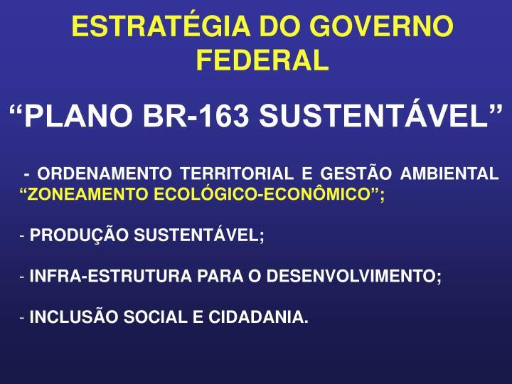 ESTRATÉGIA DO GOVERNO FEDERAL