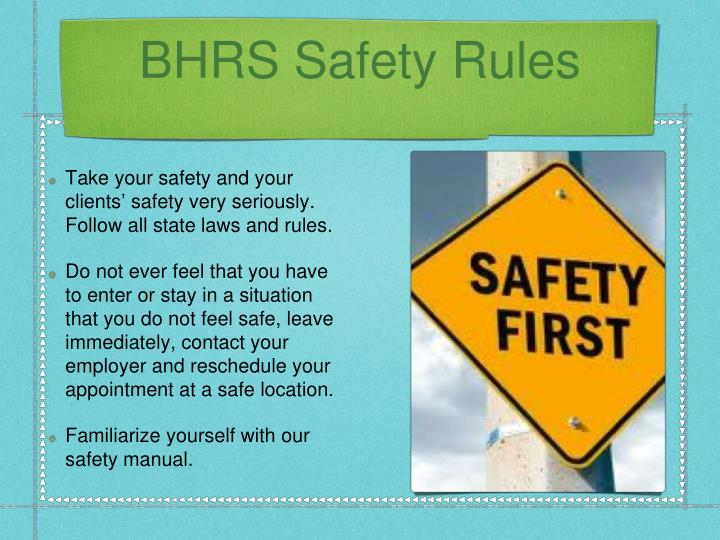 BHRS Safety Rules