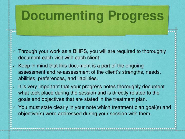 Documenting Progress