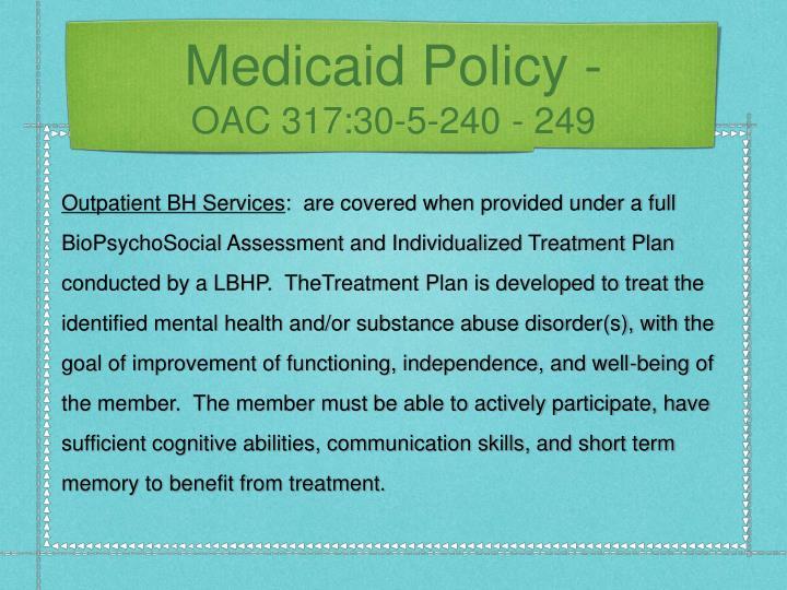 Medicaid Policy -