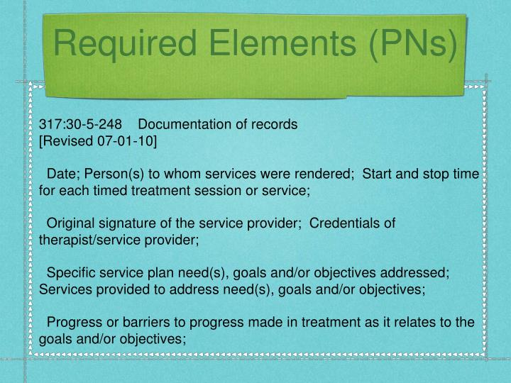 Required Elements (PNs)