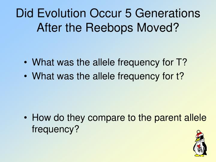 Did Evolution Occur 5 Generations After the Reebops Moved?