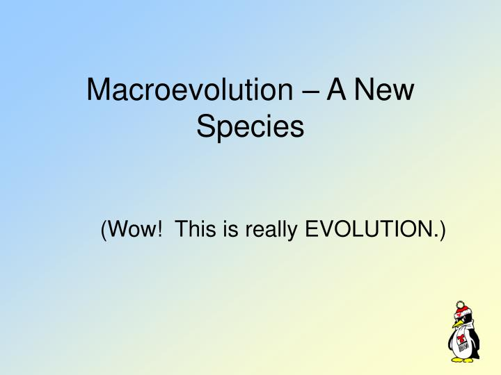 Macroevolution – A New Species