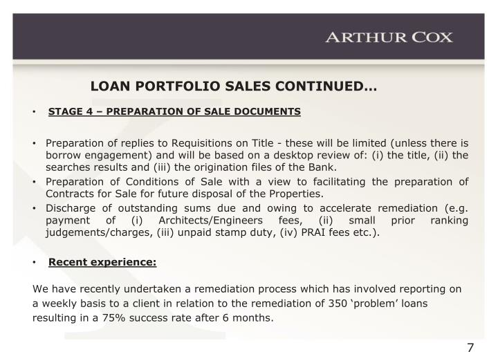 LOAN PORTFOLIO SALES CONTINUED…
