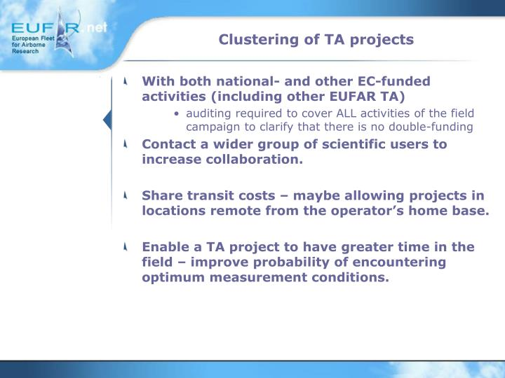 Clustering of TA projects