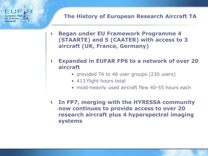 The history of european research aircraft ta