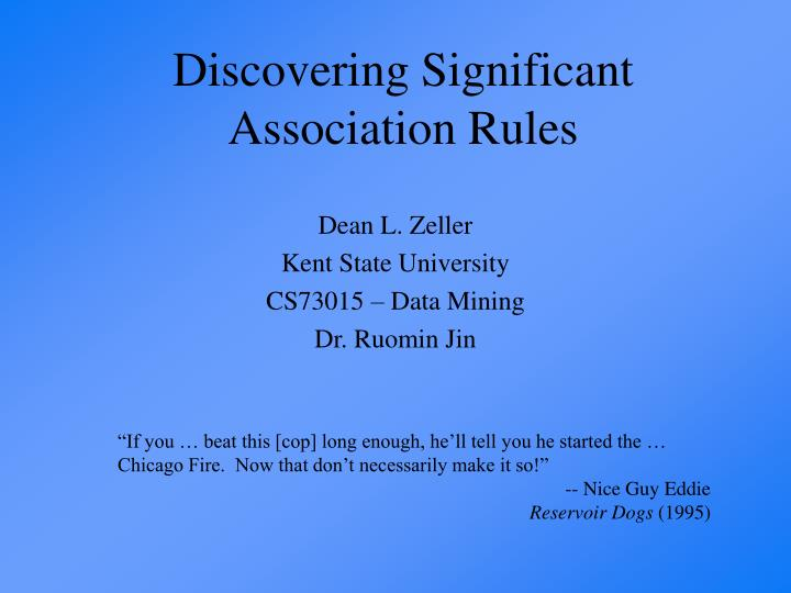 Discovering significant association rules