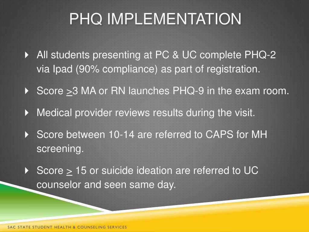 PPT - Implementation of PHQ Depression screening & Urgent ...