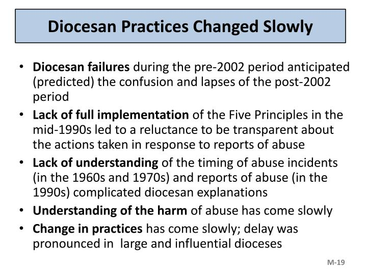 Diocesan Practices Changed Slowly