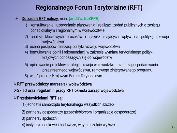 Regionalnego Forum Terytorialne (RFT)
