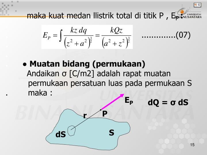 maka kuat medan llistrik total di titik P , E