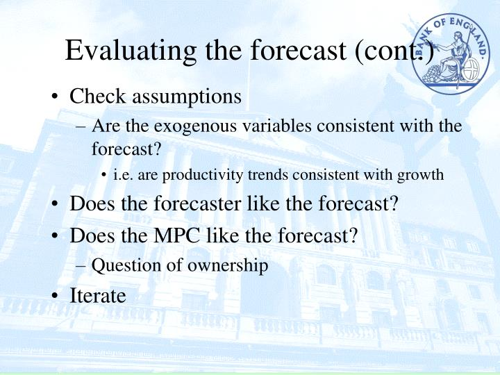 Evaluating the forecast (cont.)