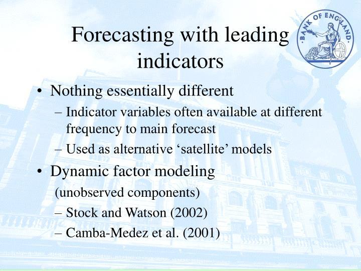 Forecasting with leading indicators
