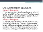 characterization examples