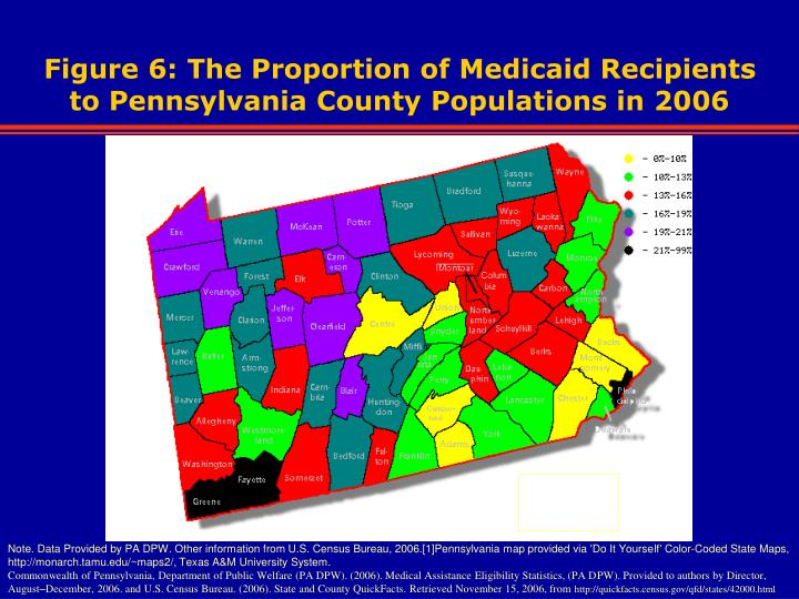 Figure 6: The Proportion of Medicaid Recipients to Pennsylvania County Populations in 2006