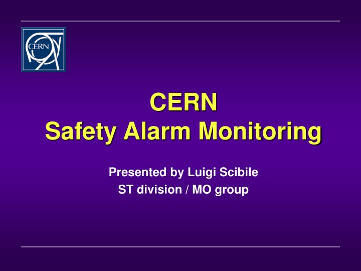 cern safety alarm monitoring n.
