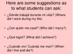 here are some suggestions as to what students can ask