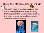 keep the affective filter in mind