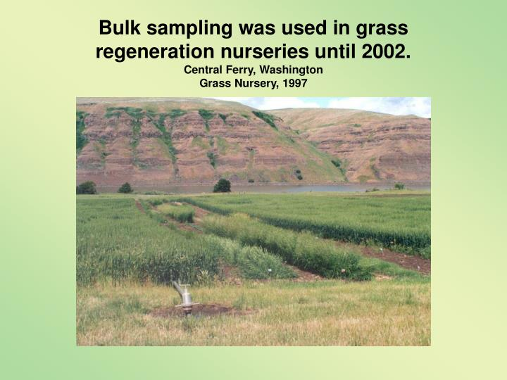 Bulk sampling was used in grass regeneration nurseries until 2002.