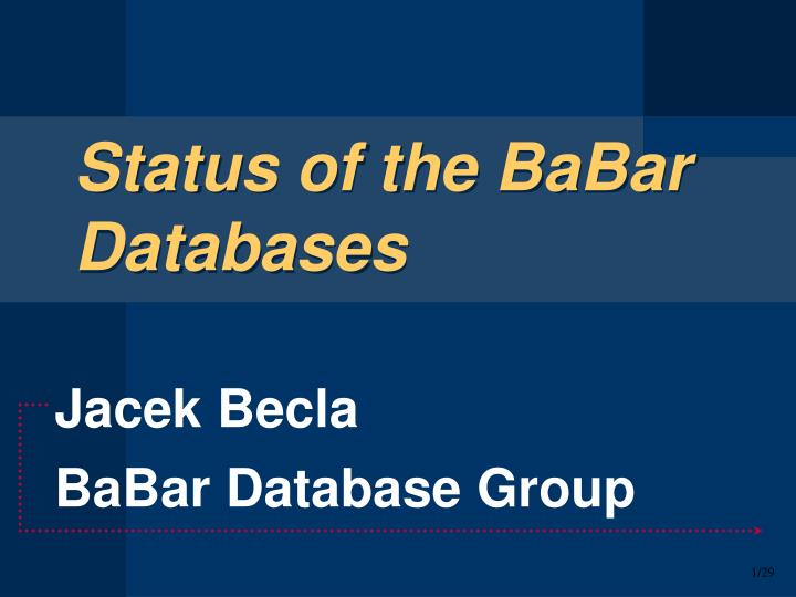 status of the babar databases n.