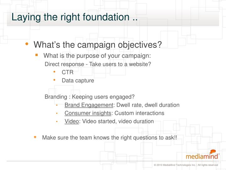 What's the campaign objectives?