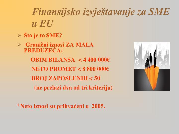 Finansijsko izvještavanje za SME u EU