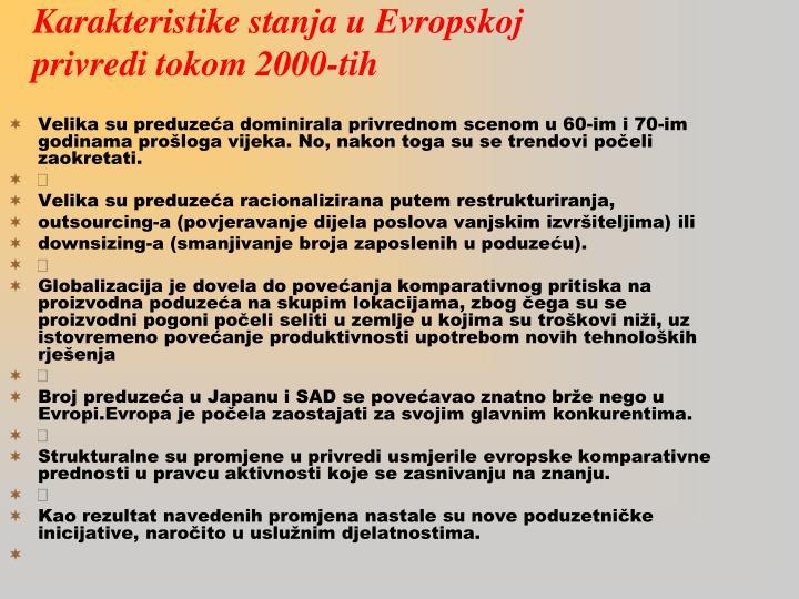 Karakteristike stanja u E