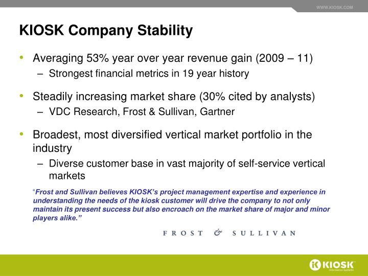 Kiosk company stability