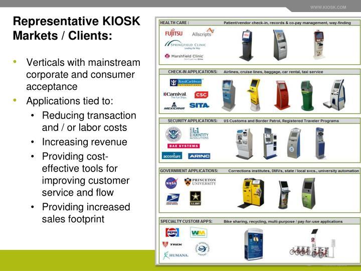 Representative KIOSK Markets / Clients: