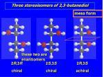 three stereoisomers of 2 3 butanediol1