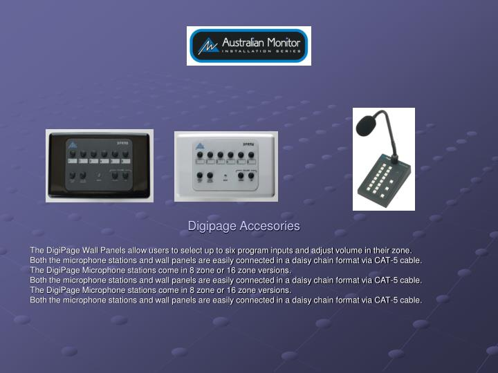 The DigiPage Wall Panels allow users to select up to six program inputs and adjust volume in their zone.