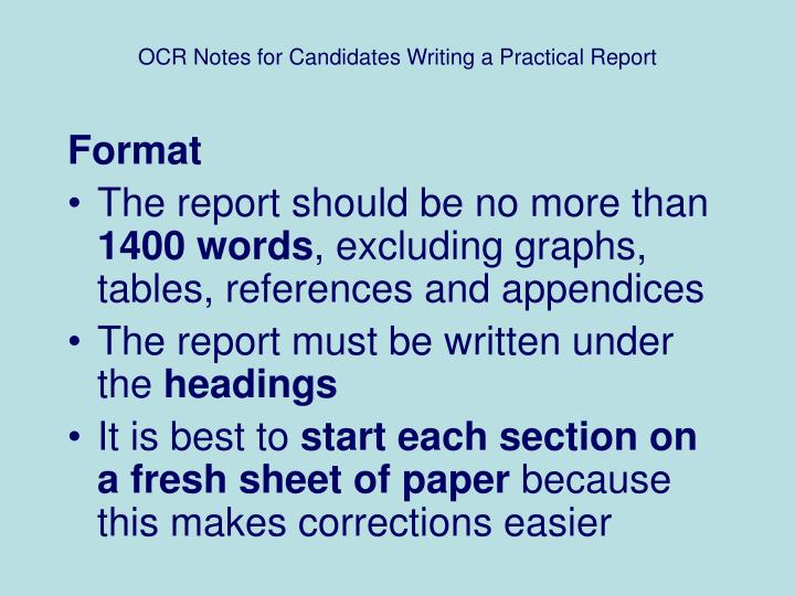 writing practical reports Write a possible solution for the problem or an explanation for the observation  make sure this possible solution is a complete sentence  make sure the statement is testable, an if-then statement is recommended to illustrate what criteria will support your hypothesis (and what data would not support the hypothesis.