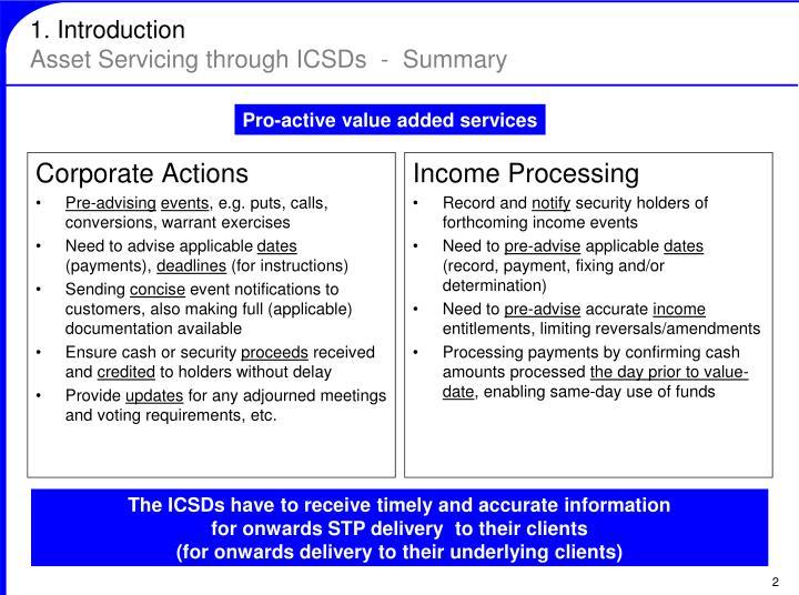 1 introduction asset servicing through icsds summary