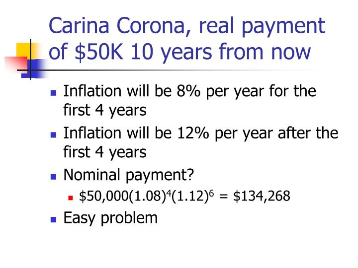 Carina Corona, real payment of $50K 10 years from now