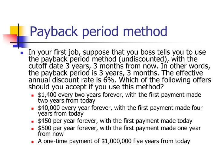Payback period method