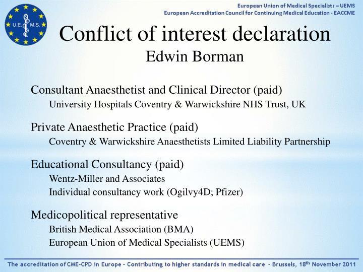 Conflict of interest declaration edwin borman