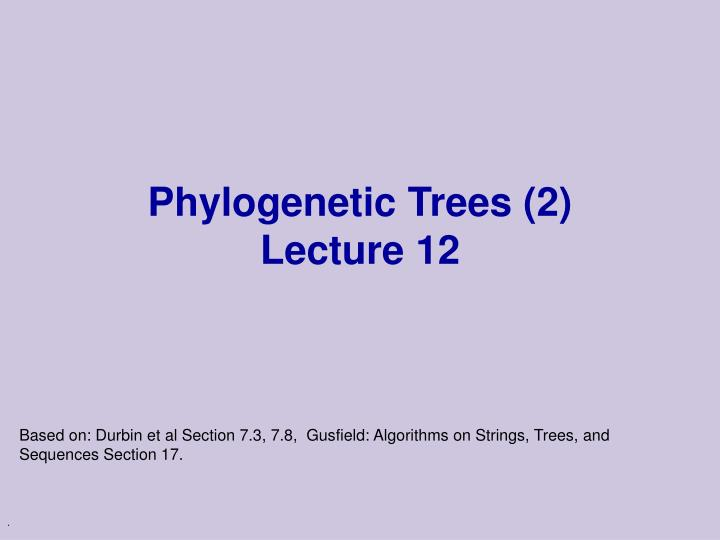 phylogenetic trees 2 lecture 12 n.